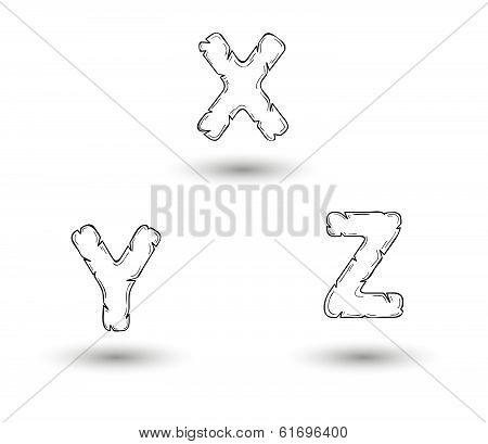 Sketch Jagged Alphabet Letters, X, Y, Z