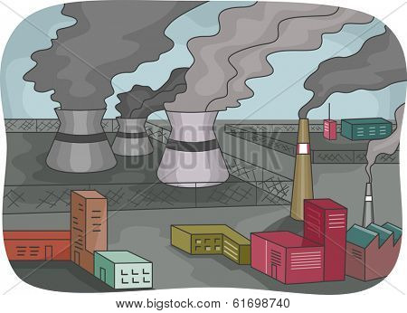 Illustration Featuring Power Plants Emitting Thick Black Smoke