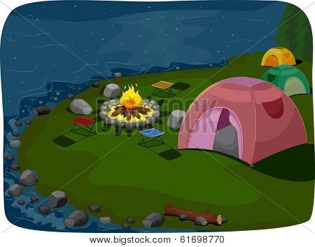 Illustration Featuring a Camp Site Situated Near a Lake