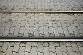 stock photo of tram  - Tram Railway tram track in a sity - JPG