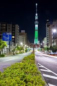TOKYO - DEC 10 : View of Tokyo Sky Tree (634m) at night, the highest free-standing structure in Japa