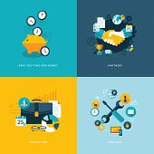 Set of flat design concept icons for business poster