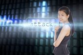 The word attack and thoughtful businesswoman against glowing codes on black background