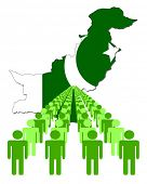 picture of pakistani flag  - Lines of people with Pakistan map flag vector illustration - JPG