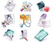 Постер, плакат: Векторный мультфильм стиль икона set Часть 28 Медицина