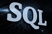 The word sql against futuristic black and blue background