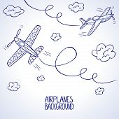 foto of aeroplane symbol  - illustration doodle silhouette of two airplane among the clouds - JPG