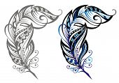 foto of decorative  - Decorative vector feathers - JPG