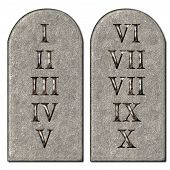 stock photo of roman numerals  - 10 Commandments concept inscribed engraved on tombstones - JPG