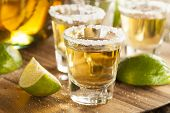 foto of shot glasses  - Tequila in Shot Glasses with Lime and Salt - JPG