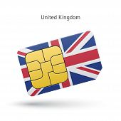 United Kingdom mobile phone sim card with flag.
