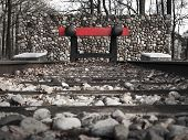 pic of dutch oven  - End of the road train track of concentration camp Westerbork in the Netherlands - JPG