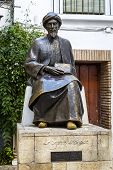 image of rabbi  - Statue of the Jewish scholar Moses Maimonides Rabbi Mosheh Ben Maimon Cordoba Andalusia Spain - JPG