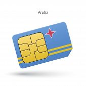 Aruba mobile phone sim card with flag.