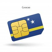 picture of curacao  - Curacao mobile phone sim card with flag - JPG