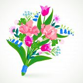 image of blue-bell  - Vector illustration of a bouquet of spring and summer flowers - JPG