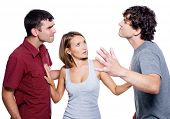 Two aggressive men fight for the woman - isolated over white background