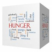 image of starving  - Hunger 3D cube Word Cloud Concept with great terms such as food pangs starving and more - JPG