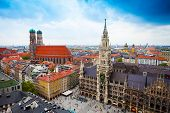 stock photo of bavaria  - beautiful city centre view of Marienplatz - JPG