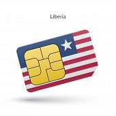 Liberia mobile phone sim card with flag.