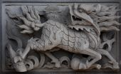 foto of chinese unicorn  - Chinese unicorn by stone carving on taoism temple - JPG
