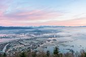 pic of flood  - Flooded fields with morning mists - JPG