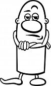 picture of cynicism  - Black and White Cartoon Illustration of Funny Skeptical Guy Character for Coloring Book - JPG