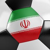picture of iranian  - Close up view of a soccer ball with the Iranian flag on it - JPG