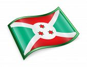 stock photo of burundi  - Burundi Flag icon isolated on white background - JPG