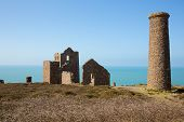 Cornish tin mine St Agnes Beacon Cornwall on the South West Coast Path known as Wheal Coates poster