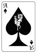 foto of ace spades  - The ace of spades with a depiction of death set into the motif of the card all isolated on a white background - JPG
