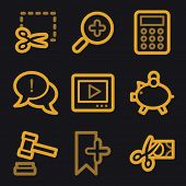 Shopping web icons, gold line set