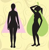 picture of body shapes  - Vector Illustration of female body shape pear also known as bell triangle and spoon - JPG