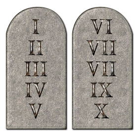 pic of tombstone  - 10 Commandments concept inscribed engraved on tombstones - JPG