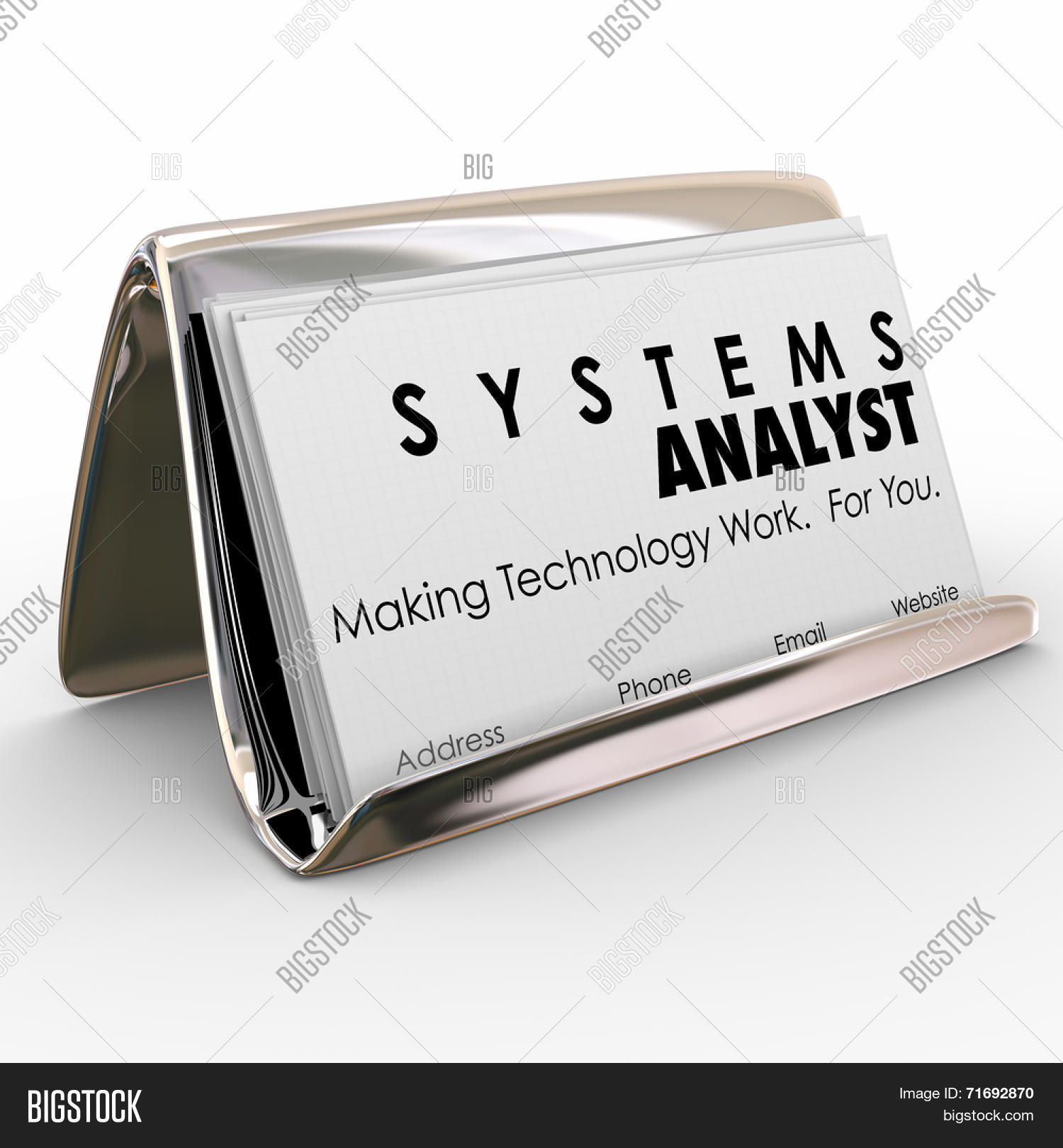 Systems analyst words on business image photo bigstock systems analyst words on business cards in a card holder and slogan making technology work for magicingreecefo Images