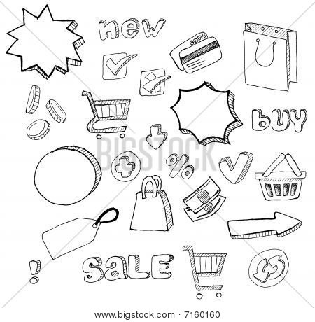 shopping doodles hand drawn set