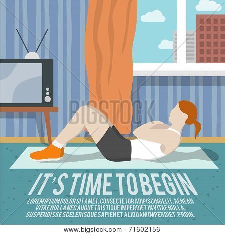 Abs training fitness poster