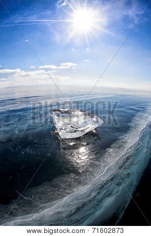 Ice floe on the ice field. Winter Baikal