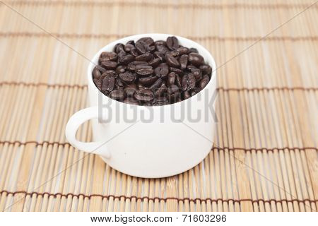 Glass Of White Coffee Beans