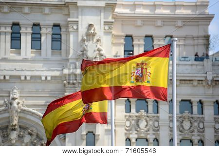 Flag of Spain in the wind