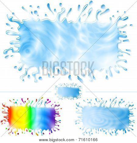 Water Paint Splash Banner Set