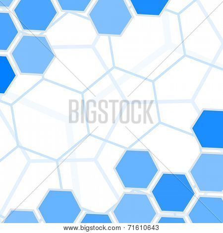 Abstract blue hexagons vector background with copy space.