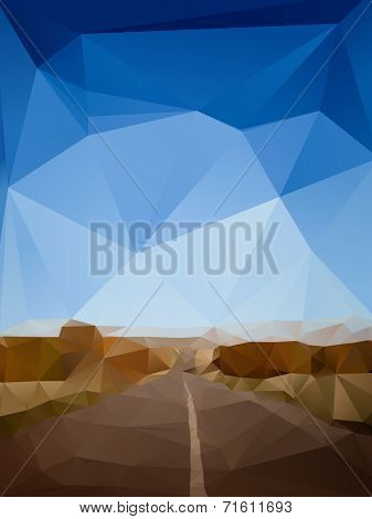 Landscape with a long road. Abstract triangulated illustration