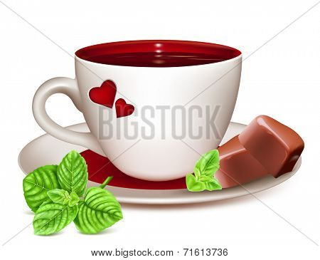 Cup of tea and with chocolates and fresh mint. Vector illustration.