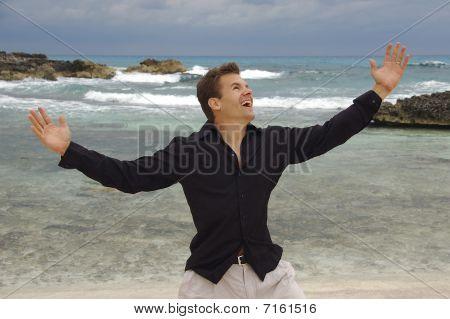 Man Happy At Beach