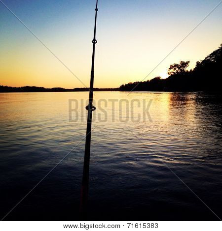 Fishing in the sunset
