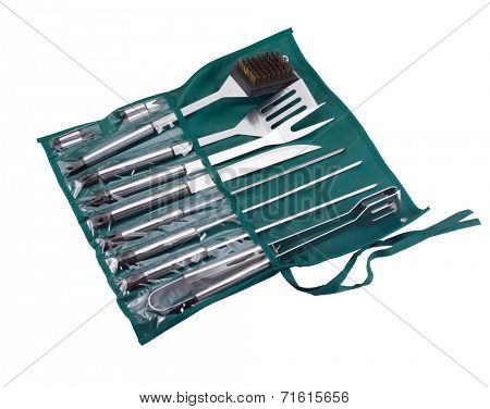 Set of tools for bbq in  bag. Isolated on a white backgropund