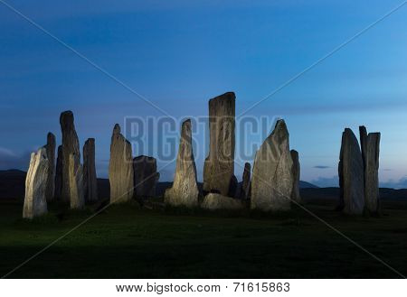Megalithic stone circle of 3000 bc on the Isle of Lewis and Harris, Outer Hebrides, Scotland, at midnight in June, when it does not get dark