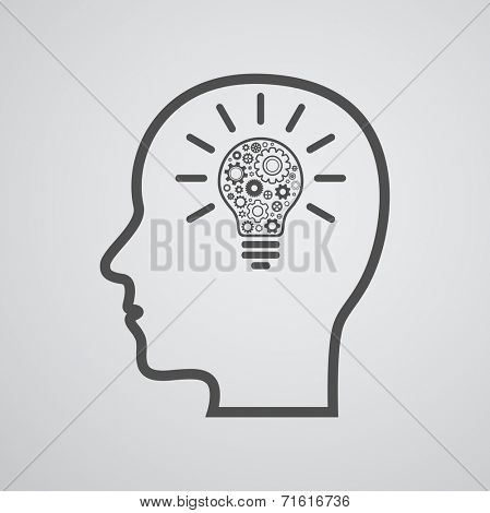 head with lightbulb and gears - idea creative design