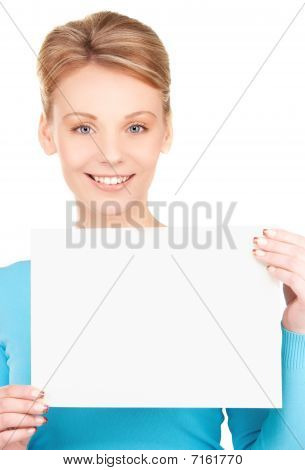 Happy Girl With Blank Board